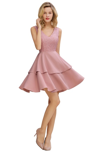 Sexy V-neck V-back Knee Length Homecoming Dress with Ruffle Skirt_8