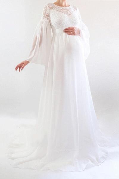 Best Long Sleeve Lace Chiffon Wedding Dress_1