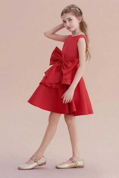 Chic Bow Satin Knee Length Flower Girl Dress_6