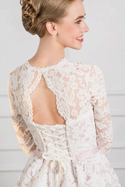 Cute Lace Knee Length A-line Wedding Dress_5
