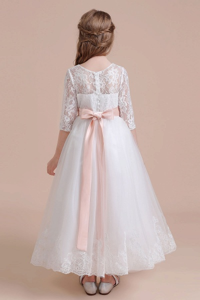 Illusion Lace Tulle Ankle Length Flower Girl Dress_3