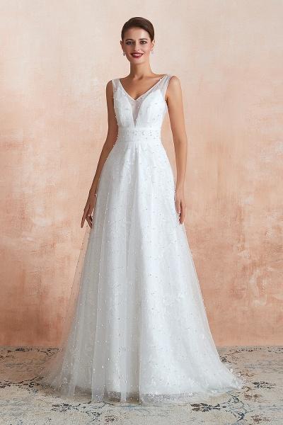 Graceful V-neck Pearl Tulle A-line Wedding Dress_4