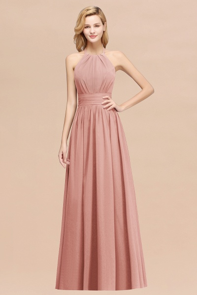 A-line Chiffon Appliques Halter Sleeveless Floor-Length Bridesmaid Dresses with Ruffles_50