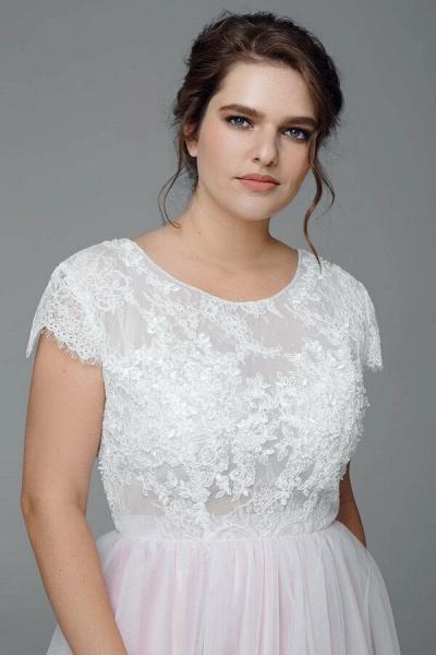 Plus Size Short Sleeve Lace Tulle Wedding Dress_5