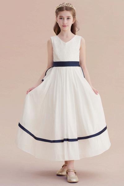 Chic V-neck Lace Ankle Length Flower Girl Dress_1