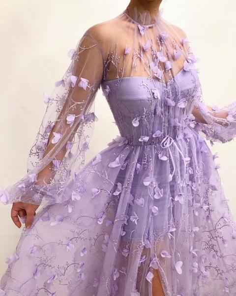 Elegant High Neck Tulle A-line Prom Dress_3