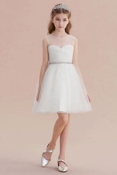 Illusion Knee Length A-line Tulle Flower Girl Dress_1