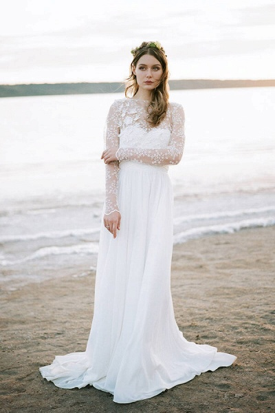 Awesome Long Sleeve Appliques Chiffon Wedding Dress_1