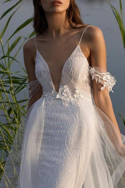 Amazing Spaghetti Strap Tulle Sheath Wedding Dress_8