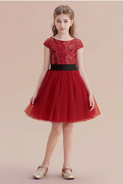 Cap Sleeve Sequins Tulle A-line Flower Girl Dress_1