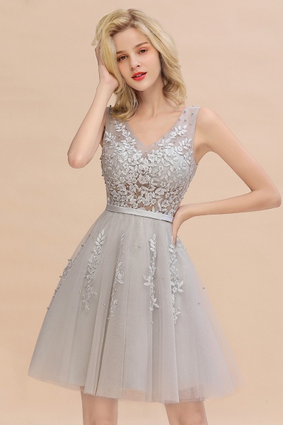 Sexy V-neck Lace-up Short Homecoming Dress with Lace Appliques_6