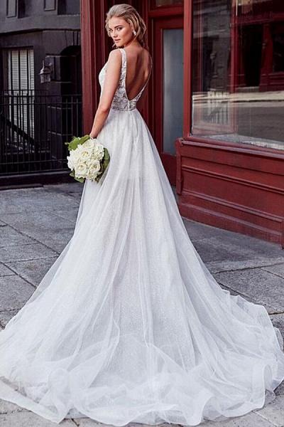 V-neck Lace Chapel Train Organza Wedding Dress_3