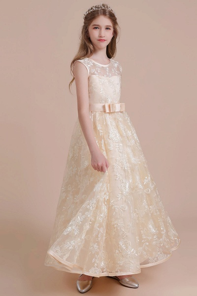 Amazing Lace Tulle A-line Flower Girl Dress_5