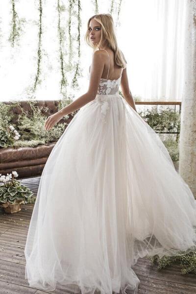 Floor Length Appliques Tulle A-line Wedding Dress_3