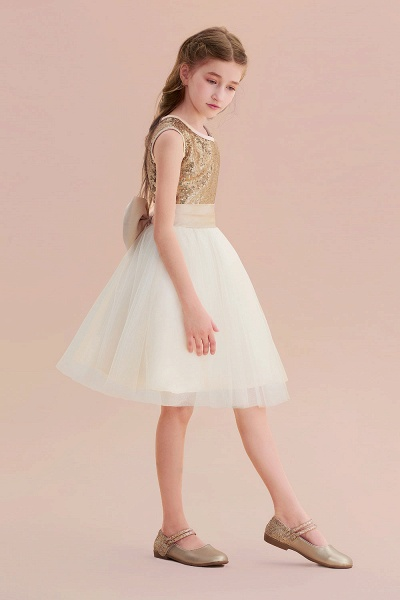 Sequins Tulle Bow A-line Flower Girl Dress_6