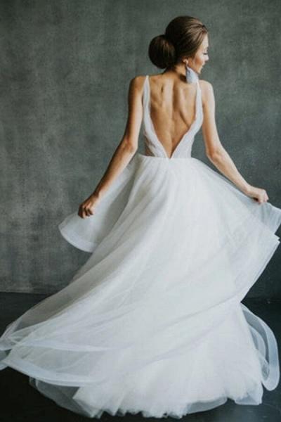 Awesome Open Back V-neck Tulle Wedding Dress_4