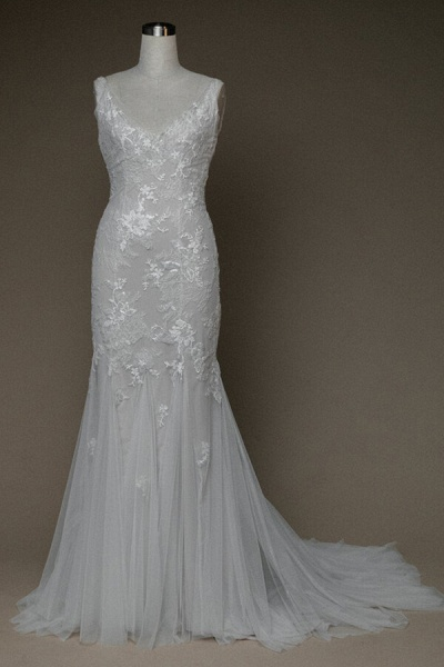 Amazing V-neck Appliques Mermaid Wedding Dress_1