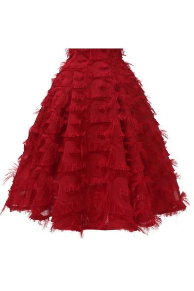 Artificial Fur Cap Sleeve Princess Short Homecoming Dress   A-line Burgundy Cocktail Dresses_15