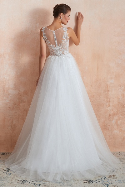 Graceful Sequins Tulle A-line Wedding Dress_3