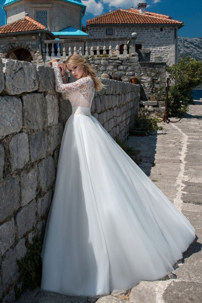 Long Sleeve Lace Tulle Ball Gown Wedding Dress_3