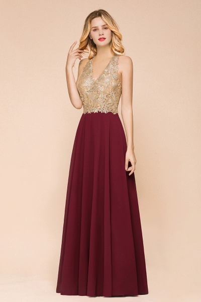 Awesome V-neck Chiffon Evening Dress_9