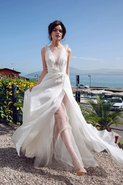 Front Slit Feather Tulle A-line Wedding Dress_1