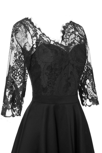 Retro Scoop neck  V-back Lace Dresses with Sleeves | A-line ruffles Burgundy Lace Cocktail Party Dresses_10