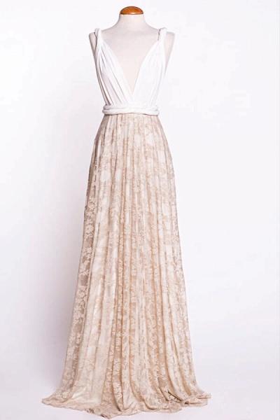 Awesome V-neck Lace Sheath Wedding Dress_5