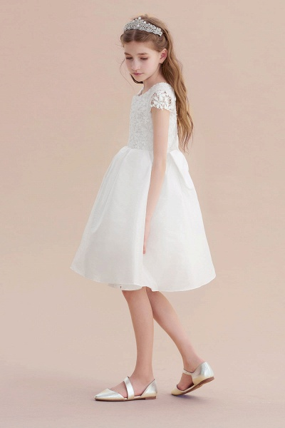 Cap Sleeve Lace Bow A-line Flower Girl Dress_6