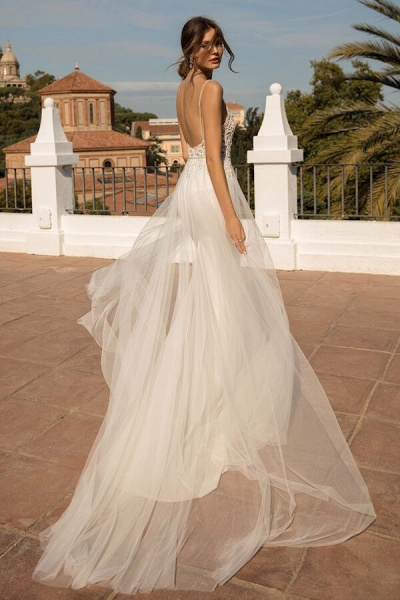 Amazing Chapel Train Tulle Mermaid Wedding Dress_3