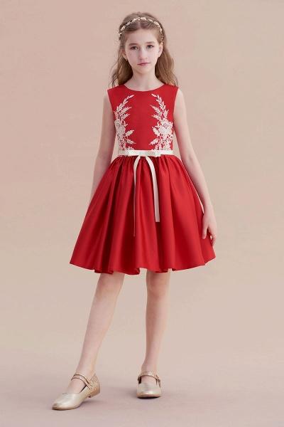 Affordable Appliques Satin A-line Flower Girl Dress_4