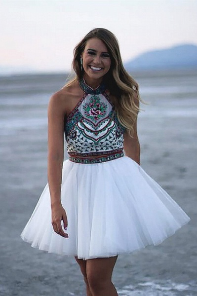 Chic Two Pieces Halter Homecoming Dress_1