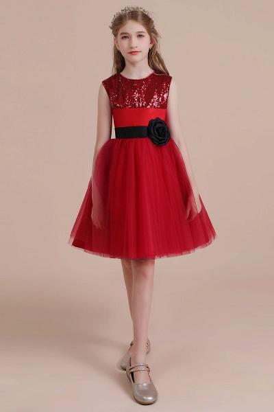 Graceful Sequins Tulle A-line Flower Girl Dress_5