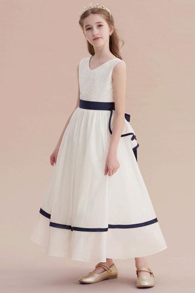 Chic V-neck Lace Ankle Length Flower Girl Dress_4