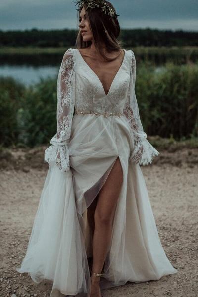Front Slit Long Sleeve Lace Tulle Wedding Dress_1