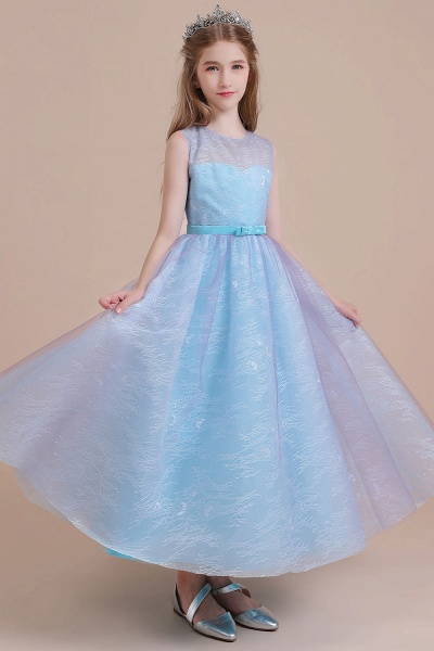 Illusion Lace Tulle A-line Flower Girl Dress_7