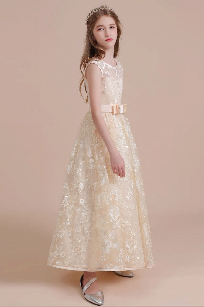 Amazing Lace Tulle A-line Flower Girl Dress_6