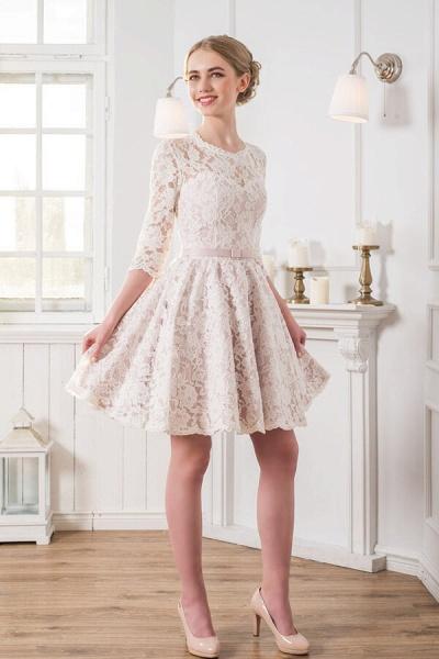 Cute Lace Knee Length A-line Wedding Dress_1