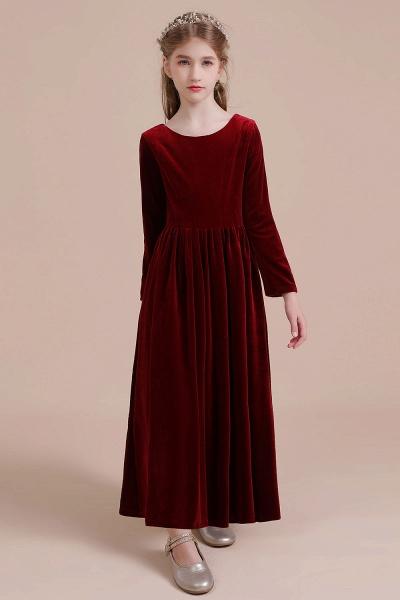 Long Sleeve A-line Velvet Flower Girl Dress_8