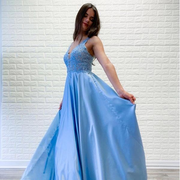 Fabulous V-neck Stretch Satin A-line Prom Dress_2