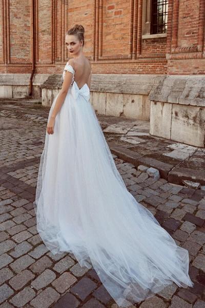 Off-the-shoulder Chapel Length A-line Wedding Dress_3
