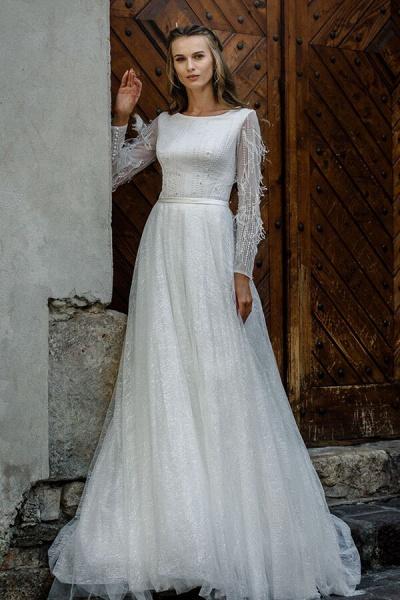 Awesome Long Sleeve Pearl A-line Wedding Dress_1