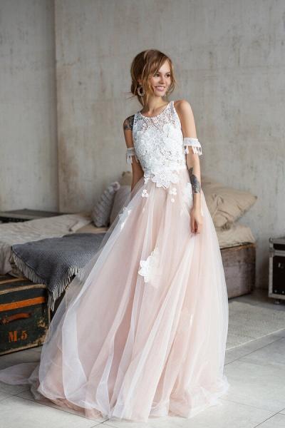 Cute Cold Shoulder A-line Tulle Wedding Dress_1