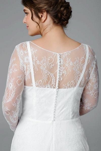 Plus Size Long Sleeve Lace A-line Wedding Dress_6