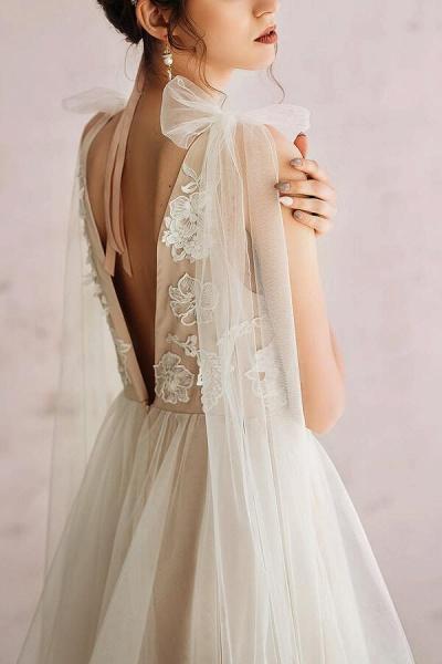 Open Back Appliques Tulle A-line Wedding Dress_6