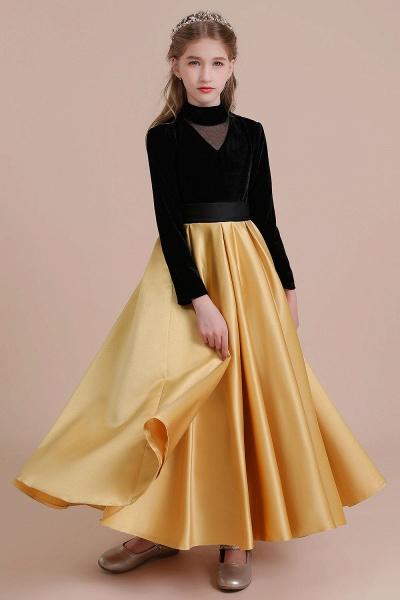 High-neck Velvet Satin A-line Flower Girl Dress_5