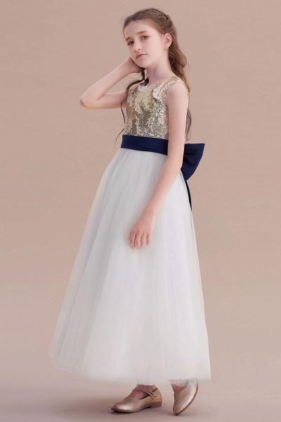 Bow Sequins Ankle Length A-line Flower Girl Dress_5