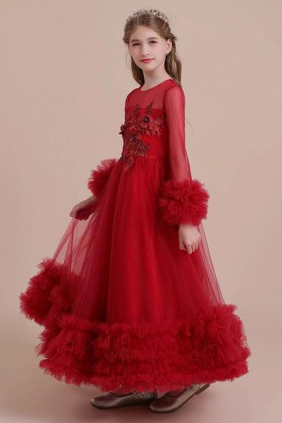 Long Sleeve Applique Tulle A-line Flower Girl Dress_7