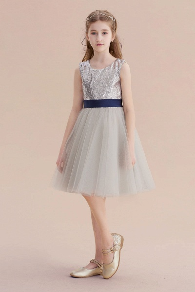 Elegant Sequins Tulle A-line Flower Girl Dress_1
