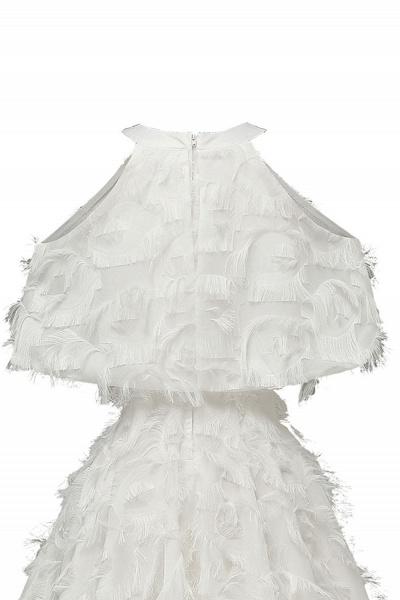 High neck Elegant Crew Neck Artificial Feather Dress Burgundy Princess Midi Dresses_19